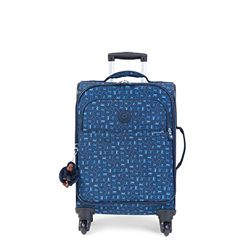 Kipling Women's Parker Small Printed Wheeled Carry-On Luggage One Size Monkey Mania Blue