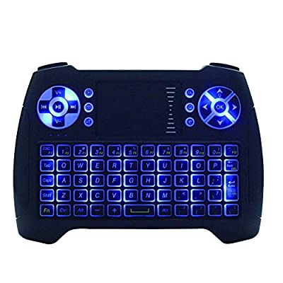 Mini Wireless Keyboard Touchpad Mouse Combo T16 Blue Backlight Keyboard,2.4GHz Remote Control Keyboard For Smart TV, HTPC, IPTV, Android TV Box, XBOX360, PS3, PC