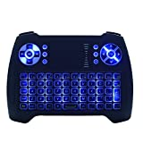 Mini Wireless Keyboard Touchpad Mouse Combo T16 Blue Backlight Keyboard,2.4GHz Remote Control Keyboard