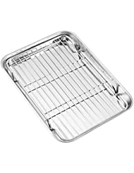 Baking sheets and Rack Set, Zacfton Cookie pan with Nonstick Cooling Rack & Cookie sheets Rectangle Size 9 x 7 x 1 inch,Stainless Steel & Non Toxic & Healthy,Superior Mirror Finish & Easy Clean