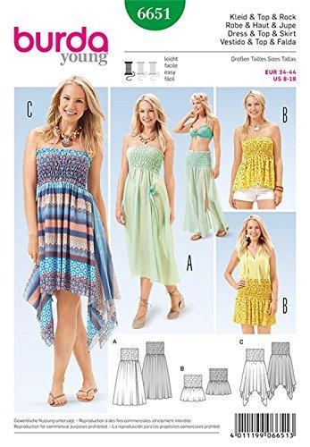 Burda b6651 - Patrón de Costura para Vestido + Alto y Falda Papel ...