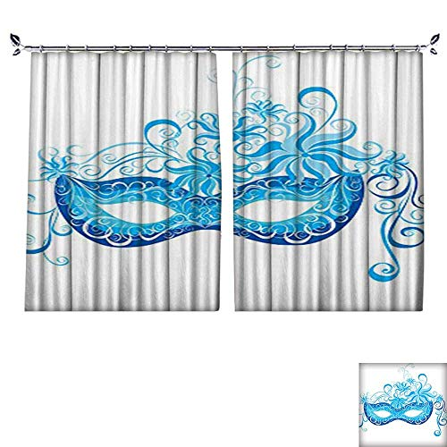 Thermal Insulated Drapes with Hook Venetian Mask Majestic Impersonating Enjoying Halloween Theme Image Print Navy Blue Windproof Function,W55 xL39 ()