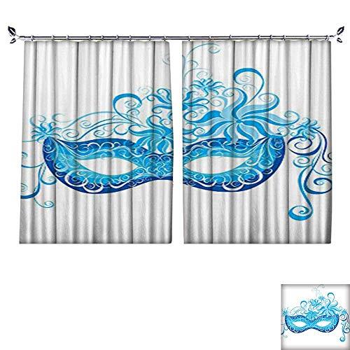 Fashion Window Curtain with Hook Venetian Mask Majestic Impersonating Enjoying Halloween Theme Image Print Navy Blue Radiation Protection,W55 -