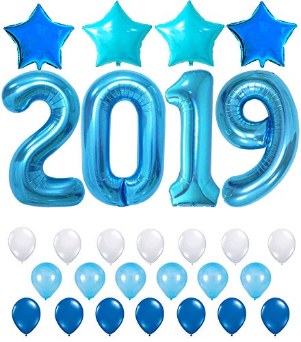 KATCHON 2019 Blue with Blue Stars Set 2019 Blue Balloons for New Years Eve and Graduations Party Supplies - Large, 2019 New Years Eve Party Supplies Decorations - Graduation Party Supplies