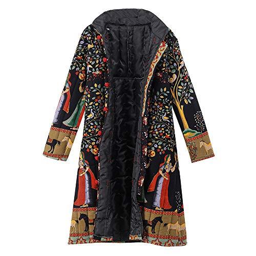 Limsea Women Coats Outwear Winter Loose Long Sleeve Vintage Print Button Long MaxiBlue X-Large ()