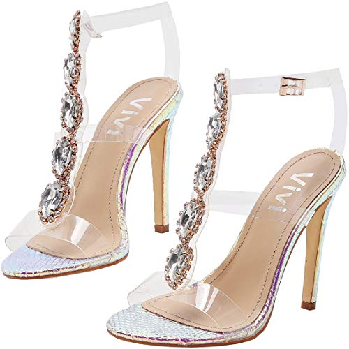 Vivi Womens Colorful Peep Toe Ankle Strap Buckle Rhinestones Clear Stiletto High Heels Size 6