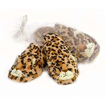 Amazon.com: Caliente gato leopardo zapatillas, café/Negro ...