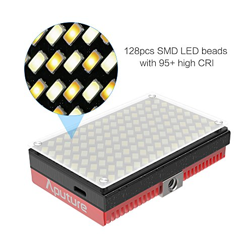 Aputure AL-MX Mini LED Video Light 2800K-6500K Color Temperature CRI95+ 128pcs LED Beads Adjustable Brightness Built-in Lithium Battery with Cold Shoe Mount Carry Bag with Andoer Cleaning Cloth by Aputure (Image #1)