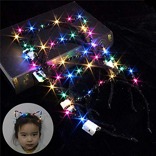 Lovely Cat Ear Flashing Colorful LED Headband Kids Adult Party Festival Hairband Luminous - Random Color