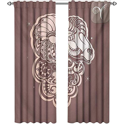 Zodiac Aries, Curtains, Stylized Ram Animal Artwork with Little Stars and The Sign Esoteric, Curtains and Drapes for Living Room, W84 x L108 Inch, Umber and Pale Peach