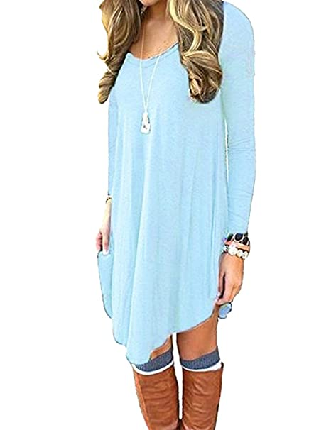 7eef59618e Sherosa Women s Casual Long Sleeve Short Mini Dress Loose T-Shirt Tee Light  Blue S