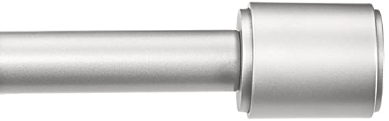 "Amazon Basics 1"" Curtain Rod With Cap Finials, 72"" To 144"", Nickel by Amazon Basics"