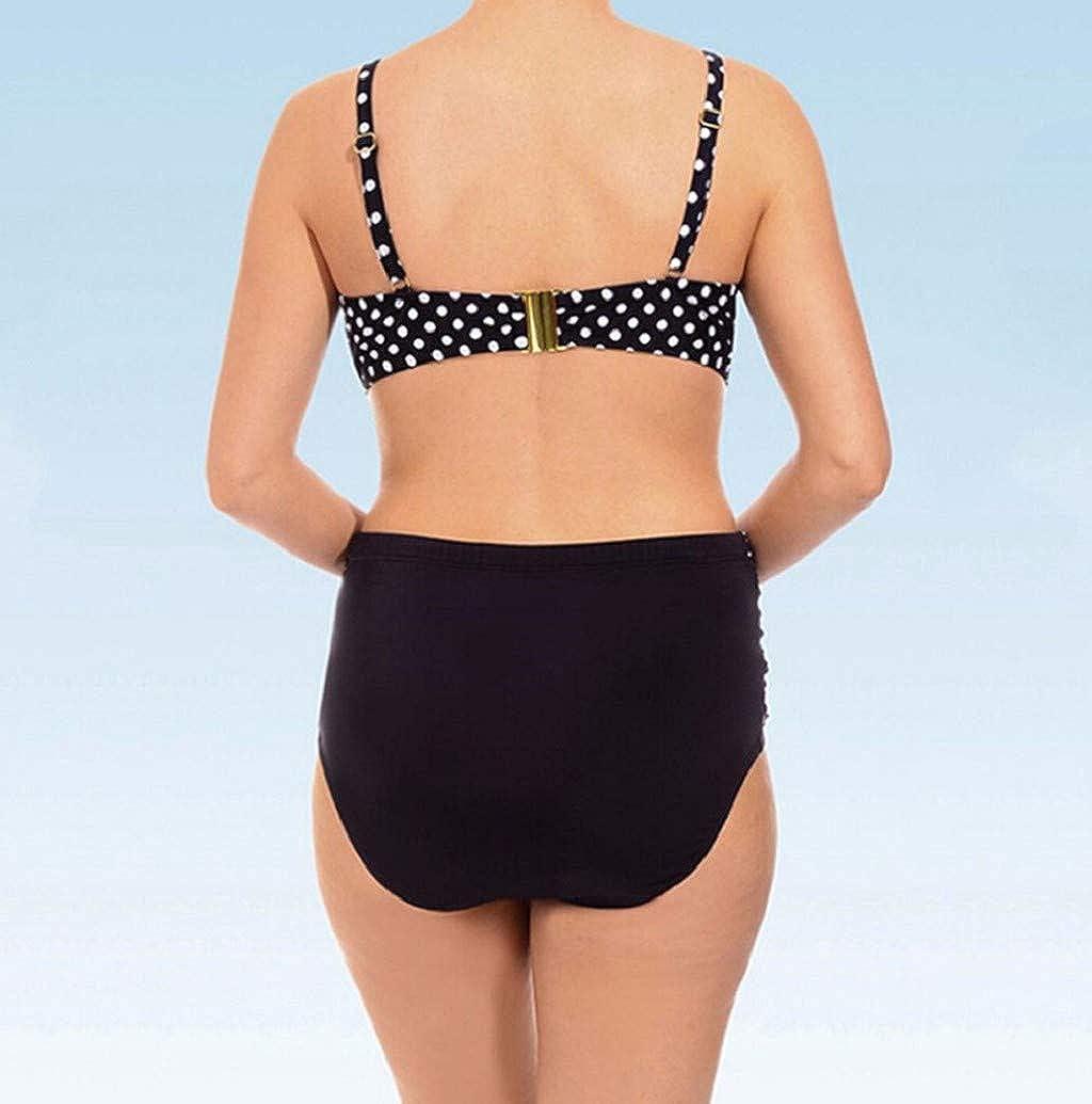 Plus Size Women Retro Polka High Waisted Two Piece Bikini Swimsuits Padded Push Up Swimwear Bathing Suit by Nevera