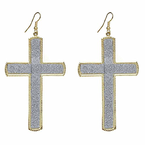 Gem Stone King 3 Inch Gold And Silver Tone Cross Shape Dangle Fish Hook Earrings (75MM X 50MM) ()