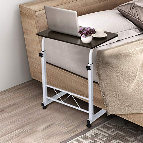 Mobile Computer Desk with Wheels, Blueseao Adjustable Mobile Desk Portable Laptop Table Computer Stand Desk Home Office Chair Can Be Lifted and Lowered Black MDF + Steel Frame ()