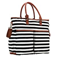 Luliey Diaper Tote Bag, Black & White Lines With Tan Trim