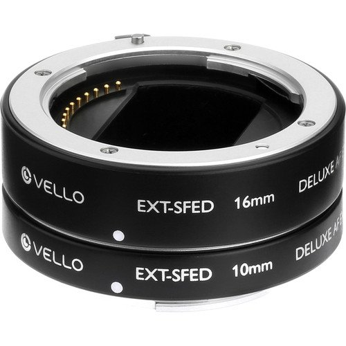 Vello EXT-SFED Deluxe Auto Focus Extension Tube Set for Sony E-Mount Lenses(2 Pack)