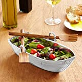 Godinger Boat Bowl with Salad Server, Silver Wood