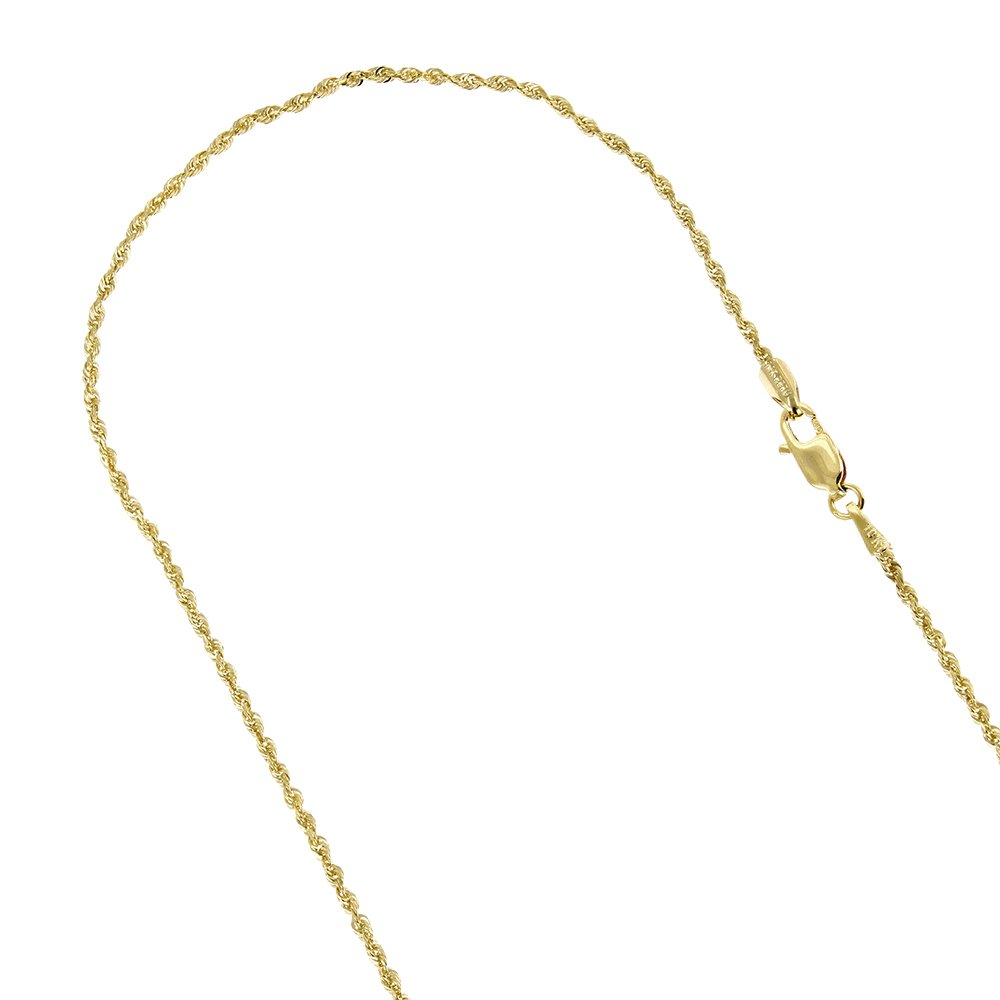 IcedTime 10K Yellow Gold 2mm Wide Sparkle Rope Hollow Chain Link Bracelet Anklet Lobster Clasp (10'' long)