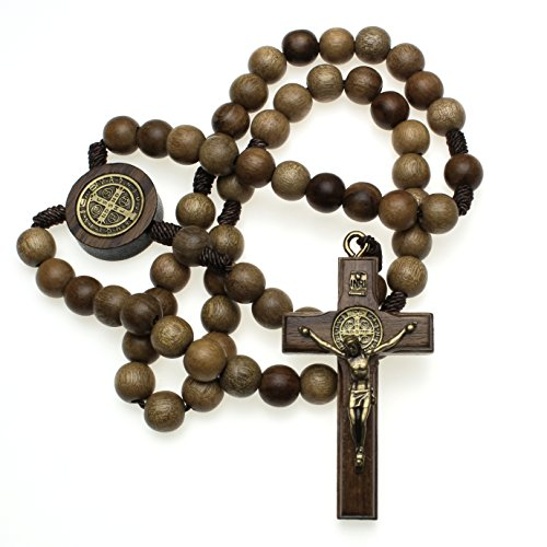 St Benedict Mens Large Intercession Rosary - Made in Brazil (Walnut - Traditional Cross 2)