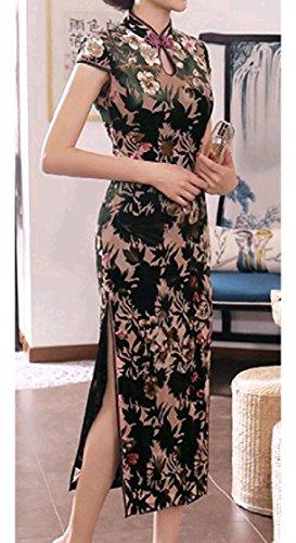 Coolred-femmes Manches Courtes Floral Velour Tribal Creux Cheongsam Robe Modèle1