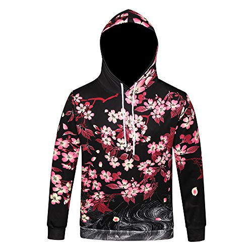 (Simayixx Sweatshirts for Men, Women Unisex 3D Carp Print Hoodies Galaxy Pullover Sweaters Pockets Cherry Blossoms Tops)