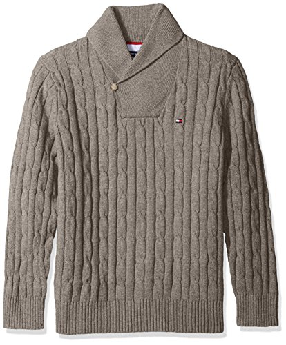 Tommy Hilfiger Nylon Sweater - Tommy Hilfiger Men's Tall The Intercontinental Shawl Sweater, Frost Grey Heather, XL-Big