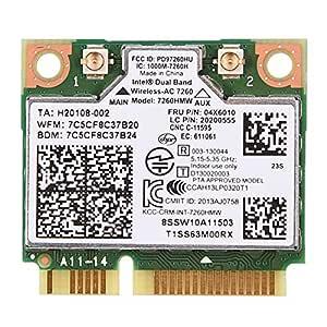 Aufee Tarjeta, Adaptador de Red, WiFi de Doble Banda 2.4GHz / 5GHz, Mini PCI-E, para Intel 7260 AC