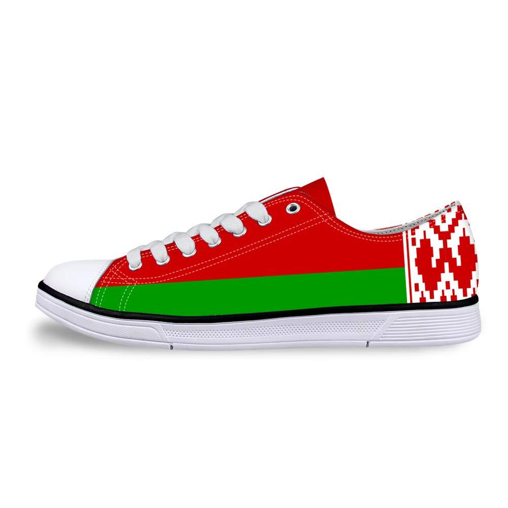 Canvas Low Top Sneaker Casual Skate Shoe Mens Womens Belarus Flag