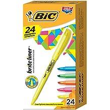 BIC Brite Liner Highlighter, Chisel Tip, Assorted Colors, 24/Set (BL241AST)