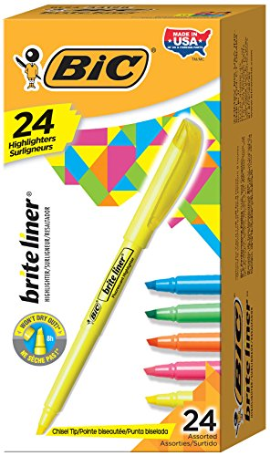 BIC Highlighter Chisel Assorted 24 Count