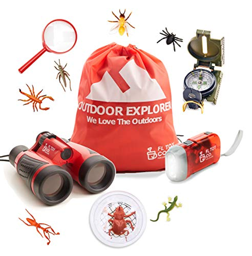 Outdoor Adventure Exploration Kit for Kids: Educational gifts, binoculars, compass, flashlight, backpack, magnifying glass and realistic bugs. Perfect for childrens pretend play exploring nature.