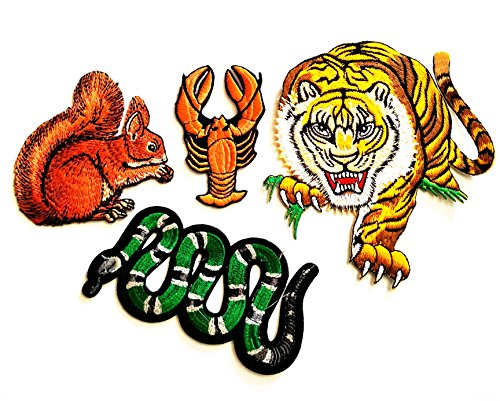 Shrimp Costume Diy (HHO 4 Piece Cute Animal Cartoon Patch Snake Tiger squirrel shrimp Patch Kid Baby Boy Jacket T- Shirt Patch Sew Iron on Embroidered Symbol Badge Cloth Sign Costume)