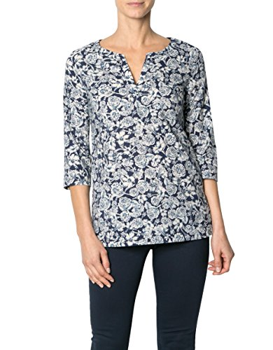 Marc O'Polo Damen Bluse Baumwolle Blusenshirt Floral, Größe: 38, Farbe: Blau