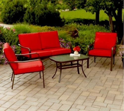 Seat Conversation Set - Mainstays Stanton Cushioned 4-Piece Patio Conversation Set, Seats 4 (Red)