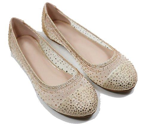 Scarpe Da Donna Walstar Basic Glitter Mesh Flat Slip On Gold (champagne)
