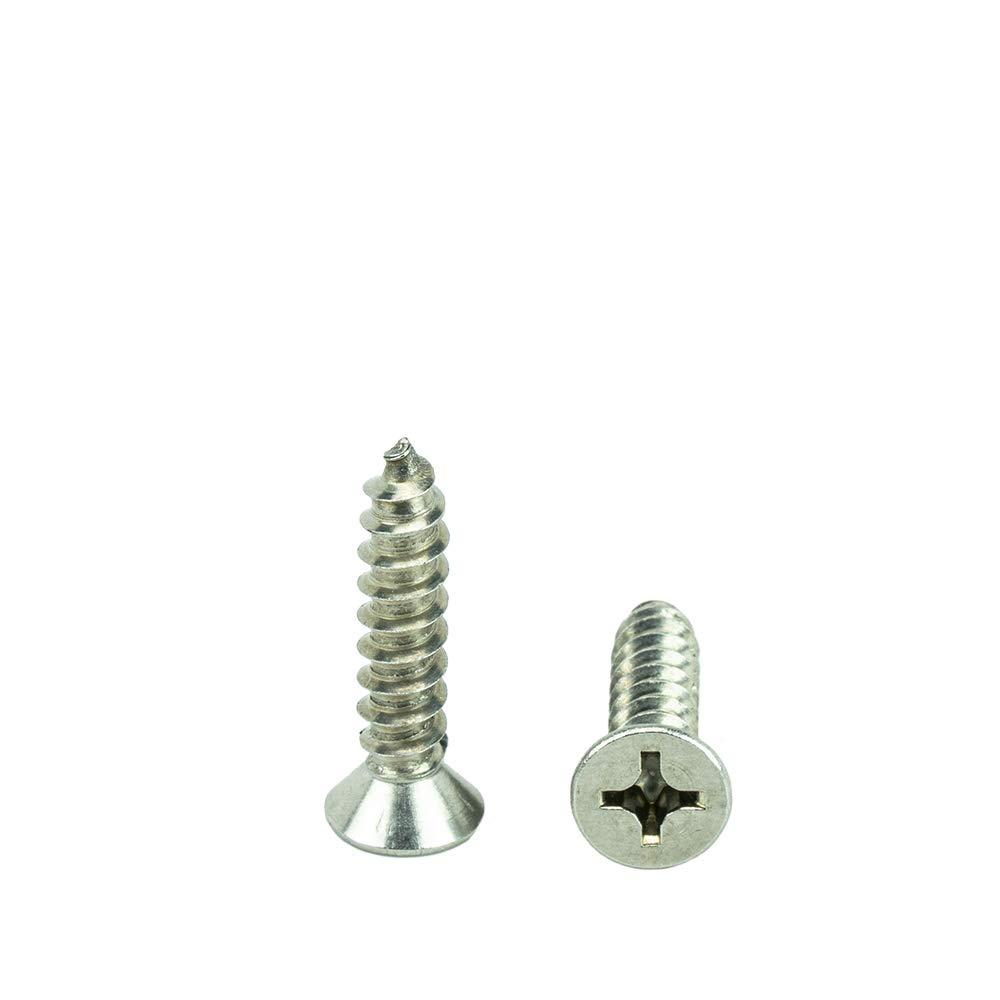 #8 x 1-1//2 Flat Head Phillips Sheet Metal Screws Self Tapping,18-8 Stainless Steel Full Thread Qty 100 by Bridge Fasteners