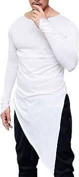 LuckyGirls Camisetas para Hombre Dobladillo Irregular Cuchillada ...
