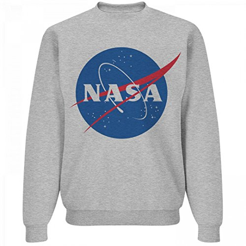 Customized Girl NASA Logo Grey Sweater: Unisex Jerzees Crewneck Sweatshirt