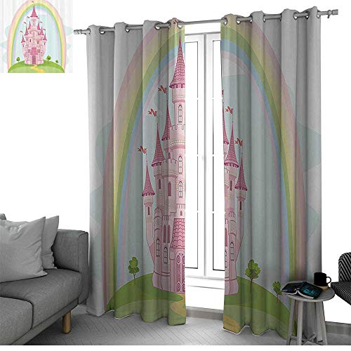 bybyhome Children Darkening Noise Reducing Backtab Window Panel Princess Castle and Rainbow Fairy Fantasy Magic Kingdom Romantic Cartoon Image Curtains for Living Room Pink Green W120 x L96 Inch ()