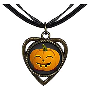 Chicforest Bronze Retro Style smiley Halloween Jack O lantern pumpkin Heart Shaped Pendant