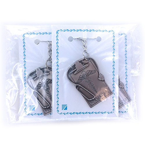 Nurses Care Stethoscope and Clipboard Antique Pewter Finished Keychain with Split Key Ring and Chain - Pack of 3