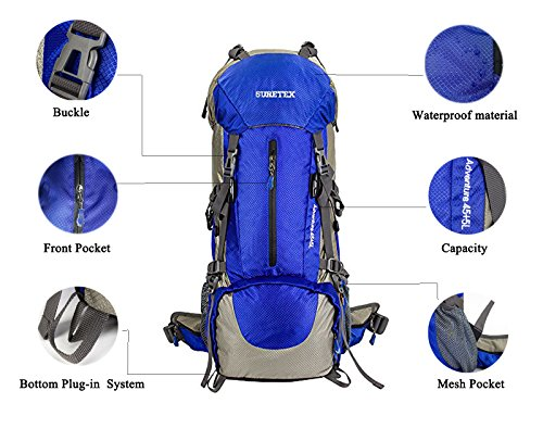 Suretex Hiking Camping Outdoor Backpack 50Liter/60Liter External Frame Waterproof Backpacking pack with Rain cover Detachable Unisex