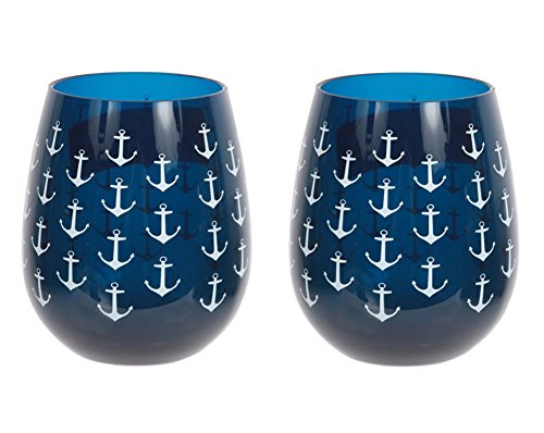 Set of 2 Nautical Anchor Shatter-Resistant Stemless Wine Glasses 18 oz. Navy -