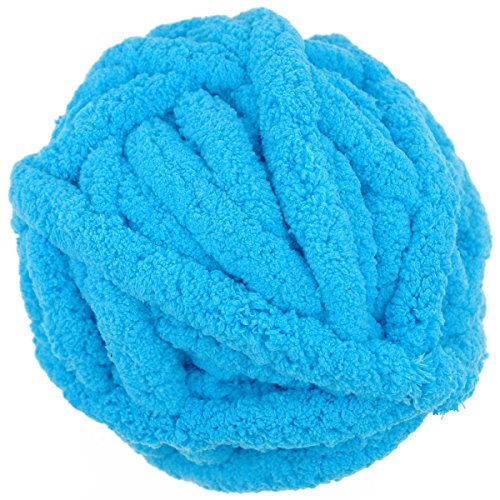 Charmkey Baby Chenille Yarn Chunky 100% Polyester Extreme Soft Thick Arm Knitting Crocheted Blanket Yarn Big Ball for Giant Knit Throw Mat Infinity Scarf, 250 g/8.82 oz (Peacock Blue) (Baby Crocheted Blankets Hand)