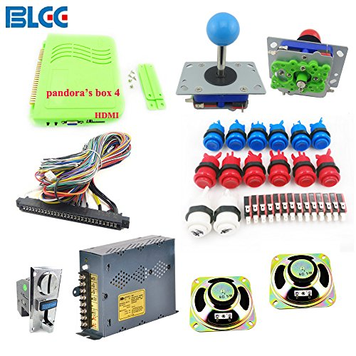 BLEE Arcade Games Kit with 645 in 1 Pandora's Box 4 HDMI Output Games Board Arcade Joystick Push Button Microswitch and Coin Acceptor Jamma Harness by BLEE