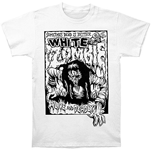 White Zombie Men's Alive & Deadly T-shirt Large White