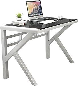 Tempered Glass Computer Desk, Gaming Computer Table, K-Shaped Leg Gaming Desk Office Desk (Black)