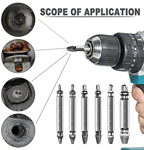 MBBEST Damaged&Stripped Screw Extractor Remover Tool and Drill Bit kit,Broken Bolt Extractor,Made From H.S.S. 4341#, Set of 6 Pcs Stripped Screw Remover