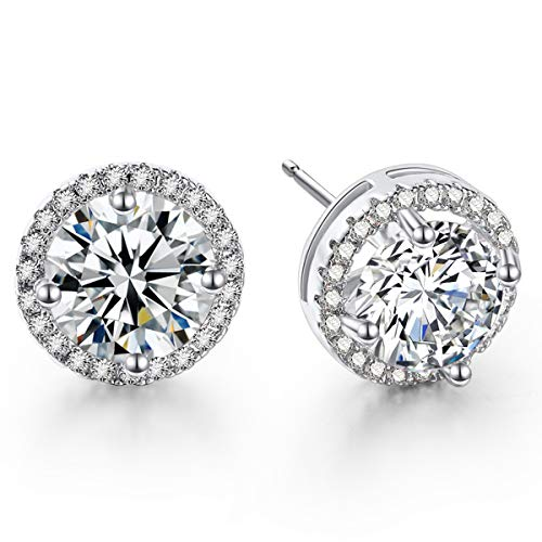 Fleur Rouge - CZ Stud Earrings For Women - 18K Gold Plated Cubic Zirconia Earrings With Silver Posts